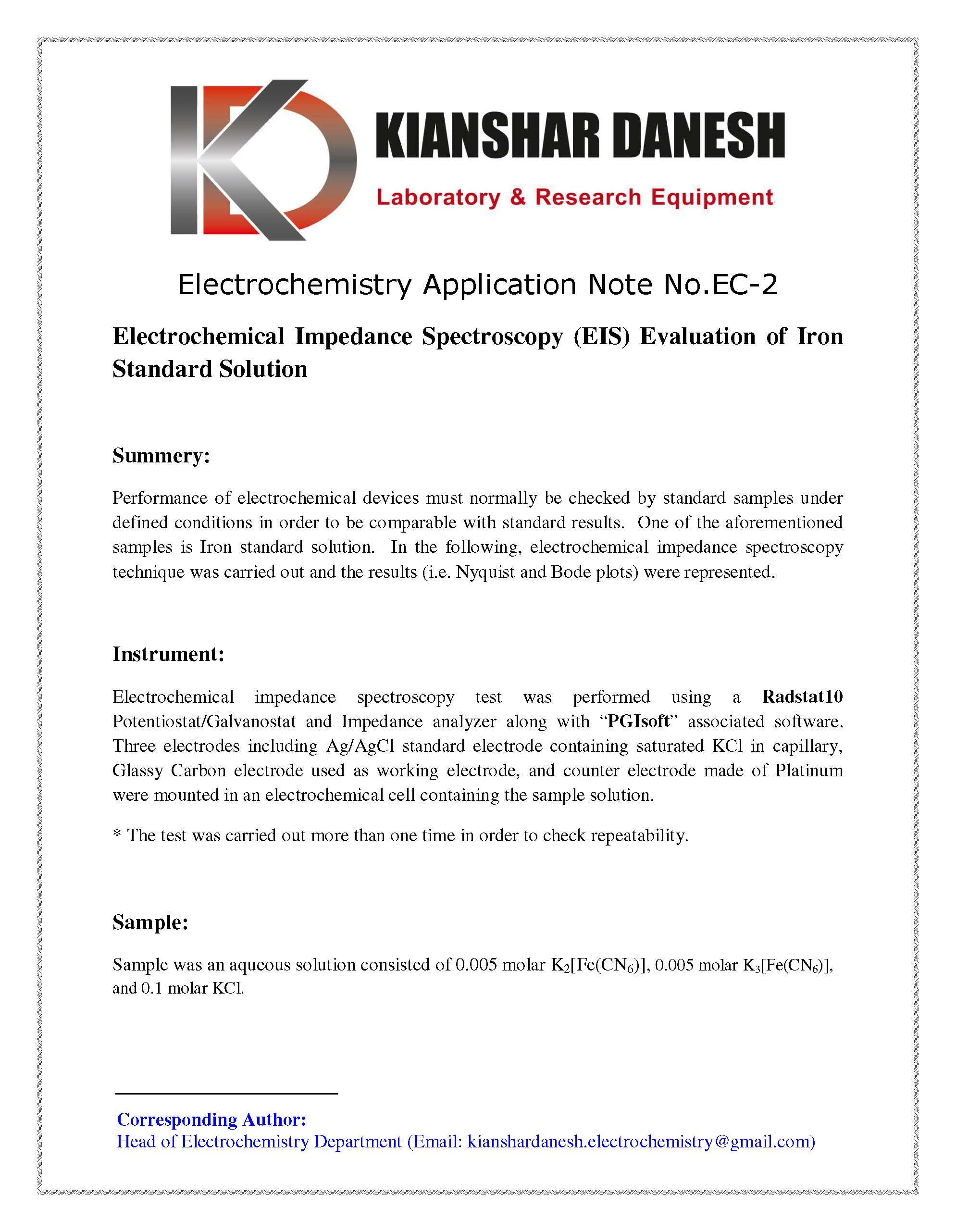 Electrochemical Impedance Spectroscopy (EIS) Evaluation of Iron Standard Solution