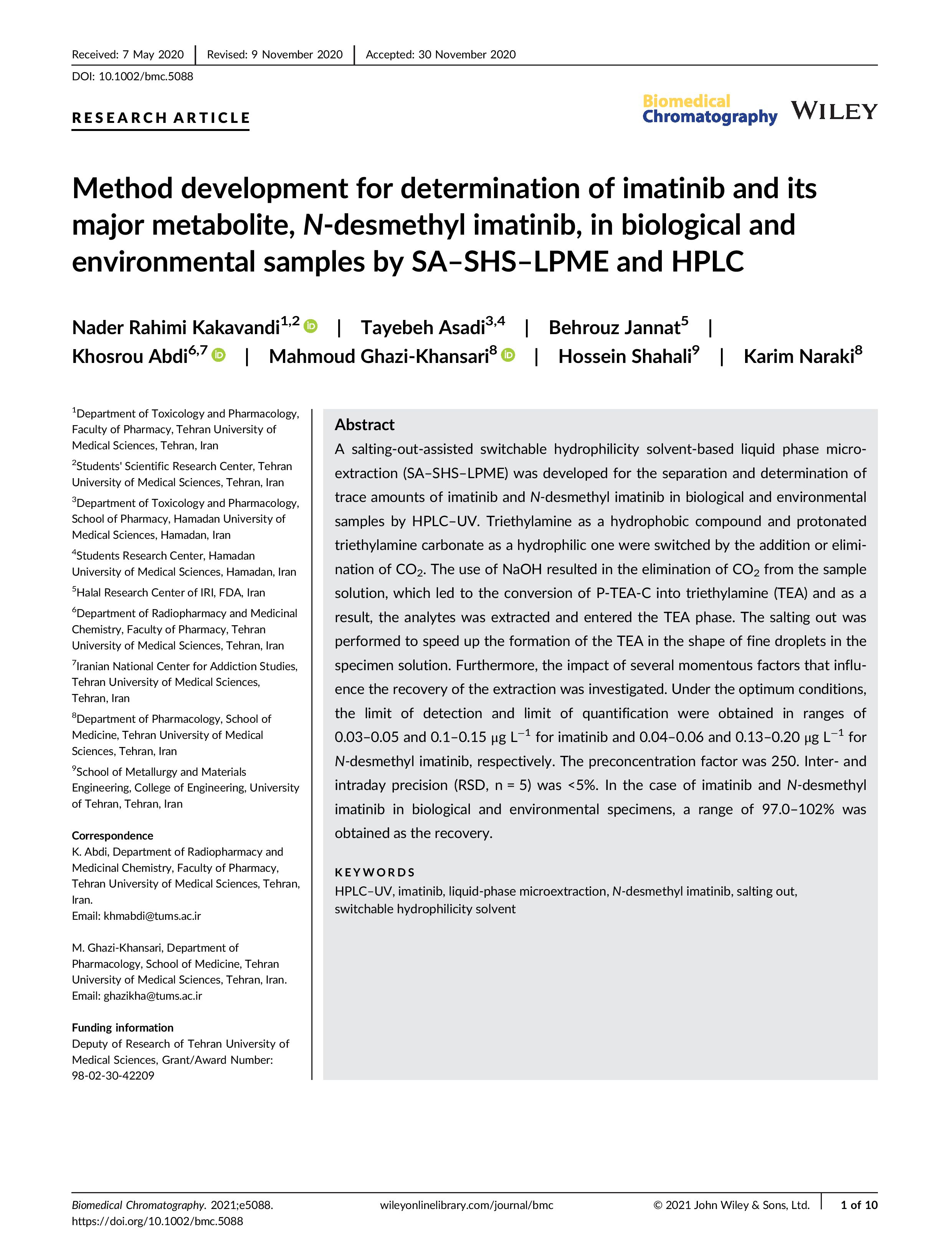Method development for determination of imatinib and its major metabolite, N-desmethyl imatinib, in biological and environmental samples by SA–SHS–LPME and HPLC